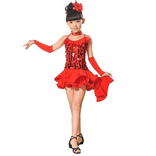 Topgrowth Vestito Ballo Bambina Ragazze Latino Danza Abito Lustrino Gonna Principessa Abiti Danza Costumi Bambini 2-13 Anni (Rosso, 140)