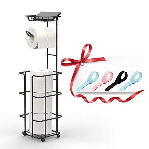 toilet paper holder with storages Toilet Paper Holder Toilet Paper Stand Toilet Paper Roll Holder Black Toilet Paper Holder with Shelf and Dispenser for 3 Spare Mega Rolls Free Standing Bathroom Paper Roll Storage Shelf Tissue Holder…
