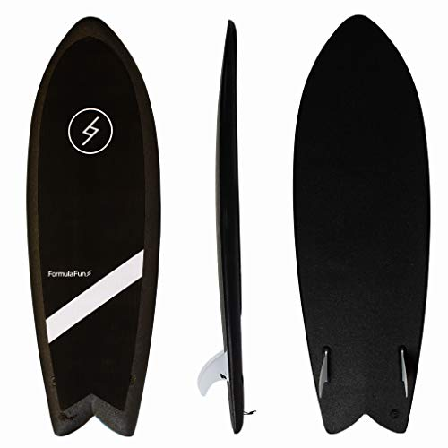 "Formula Fun Shortboard Fish 5'3"", Durable, Waterproof, and Flexible Foam Surfboard, Made in The USA, 100% Recyclable (Black Magic)"