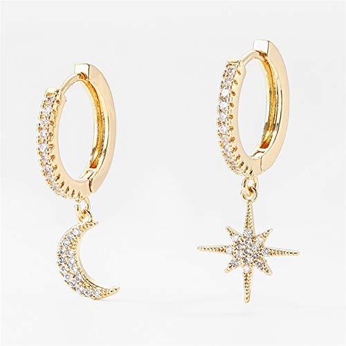 Mujeres Pendientes Cubic Zircon Star y Luna Pendientes Hoop Pendientes Joyería ^2233 (Metal Color : Gold 2)