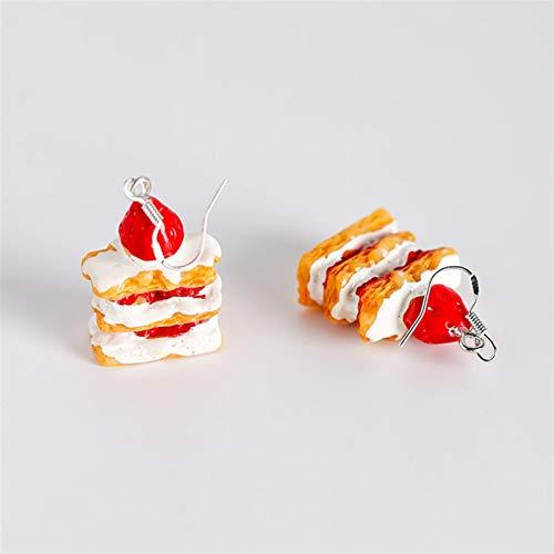 Niedliche Damen-Ohrringe aus Acryl, Obstkuchen, lange baumelnde Ohrringe, Erdbeere, Ananas, Pfeffer, Zitrone, Modeschmuck, Anhänger (Größe: normal)