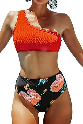 CUPSHE Damen Bikini Set One Shoulder Bikini Bademode Wellenkante High Waist Blumenmuster Zweiteiliger Badeanzug Swimsuit Orange S