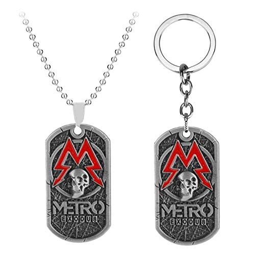 YUNMENG 2 pc Jeu Metro Exodus 2033 Collier étiquette de Chien Pendentif en Cuir métal Porte-clés Hommes Colliers Charme Cadeaux Bijoux