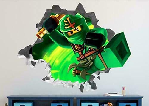 Papel pintado Pegatinas de pared para bebé Dibujos animados anime samurai luchando verde personalizado etiqueta de la pared 3d etiqueta de la pared arte Papel pintado