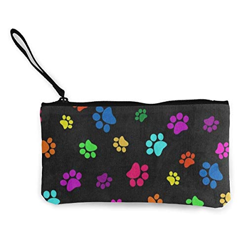 Unisex Wallet, Coin Bags, Canvas Coin Purse Rainbow Color Footprint Paw Print Customs Zipper Pouch Wallet for Cash Bank Car Passport