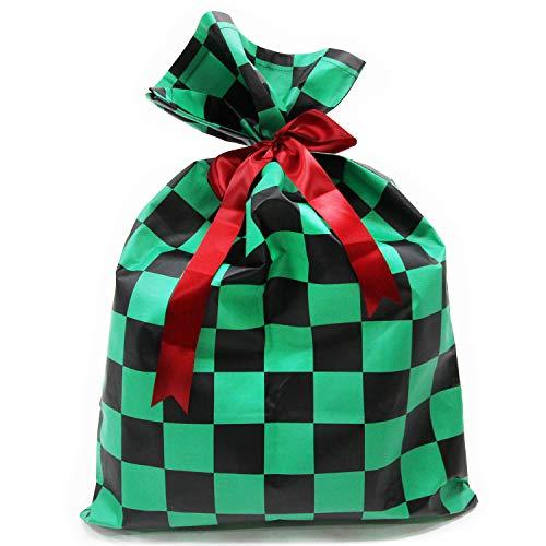 MRG ラッピング袋 62*46 90*60 クリスマス 大きい 鬼滅の刃 きめつのやいば 市松模様 総柄 ブラック グリー...