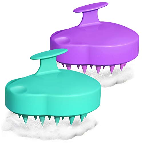 Lomrsiul Hair Scalp Massager Shampoo Brush, Hair Scrubber Head Massager for Wet and Dry Hair, Soft Silicone Scalp Brush for Men, Women, Kids(Teal+Purple)