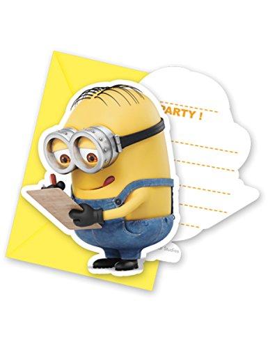 6 Cartes d'invitation avec enveloppes lovely Minions - taille - Taille Unique - 237545