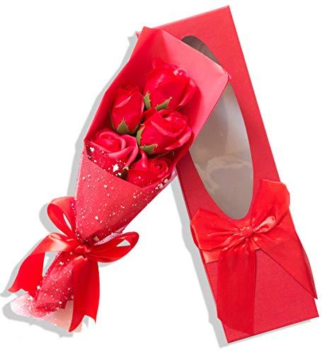 Sevenriver 5 saponi coreani fatti a mano, bouquet di rose in confezione regalo, colore: rosso