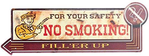 AVENUELAFAYETTE Décoration Murale Plaque métal Garage - pub Vintage rétro - 50 x 18 cm (No Smoking)