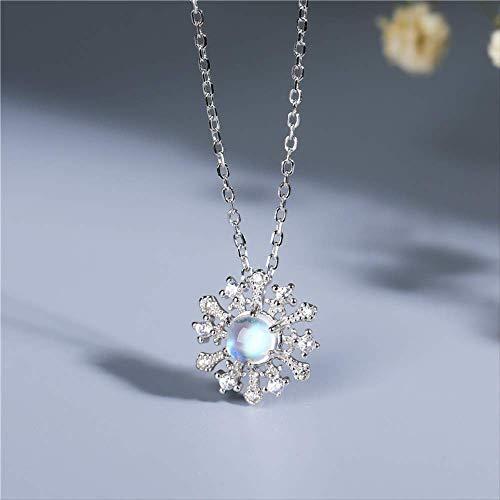 nobrand S925 Sterling Silber Natur Mondstein Halskette Weiblich Kristall Blau Mondschein Schlüsselbein Kette Frauen
