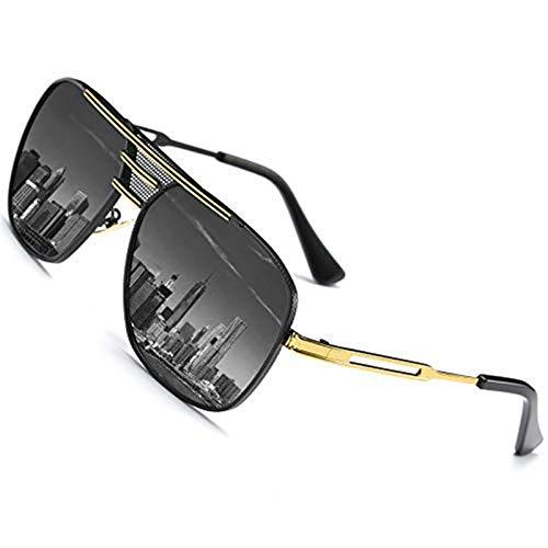 SHEEN KELLY La Plaza de Gran Piloto Gafasde sol Retro de los Hombres de Metal Polarizados Marrón/negro/plata.