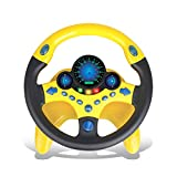 Kids Electric Early Education Simulation Steering Wheel Toy Multifunctional High Simulation Car Driving Toy with Music and Light Pretend Driving Toy for Boys and Girls (Car 2)