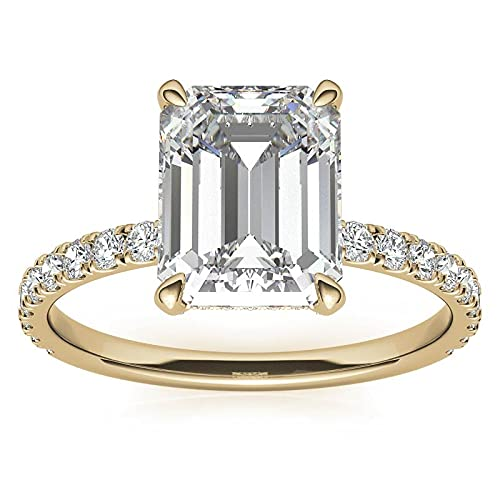 Customize Jewels Anillo de compromiso con diamante de laboratorio en oro amarillo de 14 k D-VVS1 de 1,50 quilates, 8 x 6 mm 7