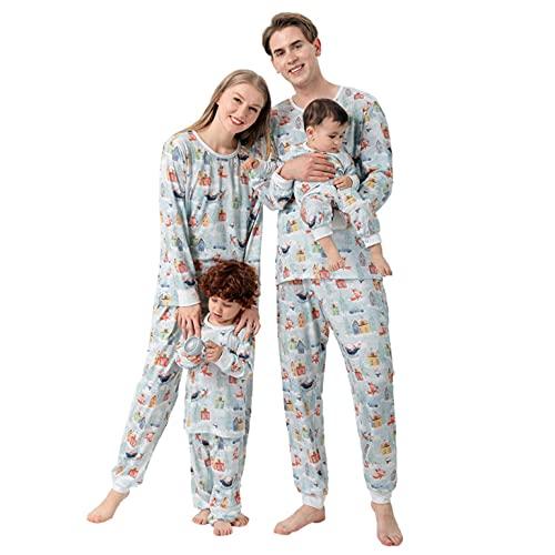 Alueeu Pijamas Familia Conjunto a Cuadros con Estampado de Alces Navidad Algodón Ropa Dormir Suave y Comodo para Hombre Mujer Niños Bebé