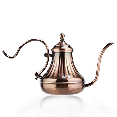 Teteras Cafetera Thin largo boca boca de la tetera, de acero inoxidable chapado en cobre tetera de cobre Cafetera Tetera grueso té, café, hervidor de agua vierta WTZ012
