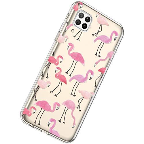 Herbests Kompatibel mit Huawei P40 Lite Hülle Silikon Weich TPU Handyhülle Durchsichtige Schutzhülle Niedlich Muster Transparent Ultradünn Kristall Klar Handyhülle,Flamingo