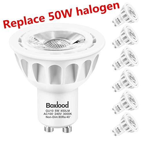GU10 LED Bulbs 6-Pack 3000K Warm White 90% Energy Saving 5W vs 50W Halogen Bulbs 40 Degree Spotlight 450Lumen MR16 GU10 LED Bulbs 100-240V No Dimmable for Landscape Track Lighting Kitchen by Boxlood