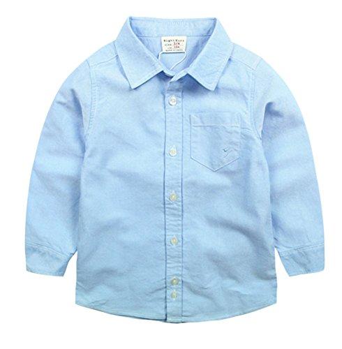 Blancho Chemise simple à manches longues pour garçon Little Gentleman - Bleu - Taille Unique