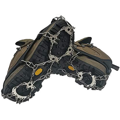 KEEPBLANCE Steigeisen für Bergschuhe, Verbesserte Schuhkrallen mit 24 Edelstahl Zähne Spikes, Schneekette, Eisspikes, Grödel und Spikes für Klettern Bergsteigen Winter Outdoor