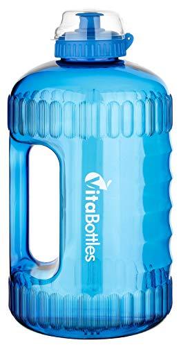 Bottiglia VITABOTTLE Nera da Usare in Palestra o Durante l'esercizio Fisico. Bottiglia da 2.2 L XXXL Senza BPA e DHEP da riempire con tanta Acqua (Blu)