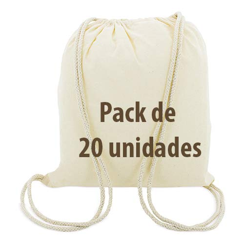 20x Mochila Bolsa Algodón natural con cordones tamaño 39 35 cm. 130 grs