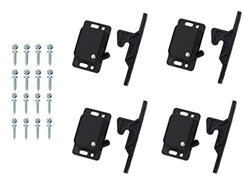 RV Drawer Cabinet Latches and Catches – 4 Pack Grabber Catches RV Push Cabinet Door Latch -10 LB Easy Install Camper Kitchen Home Office