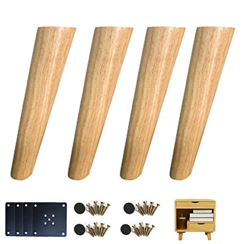 4pcs Furniture Legs,Wood Table Legs,Sofa Legs,Oblique Cone Cabinet Legs,for Sofas Footrests Coffee Tables Cabinets,Height 8cm-60cm,Wood Color(30cm/11.8in)