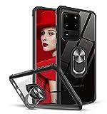 LeYi Funda Samsung Galaxy S20 Ultra 5G / S20 Ultra,Transparente Carcasa con 360 Grados iman Soporte Silicona Bumper Armor Case para Movil Samsung Galaxy S20 Ultra, Clear Negro