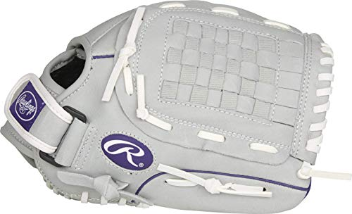 Rawlings Sure Catch Series Fastpitch Softball Glove, Purple/Grey/White, Right Hand Throw, 12 inch, SCSB12PU-6/0 12 BSK/NFC
