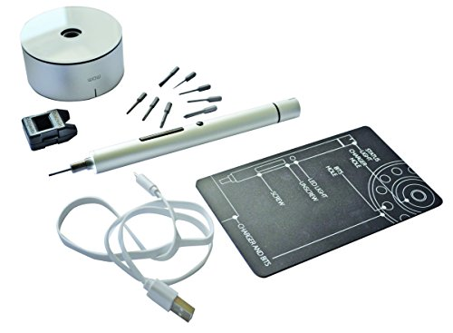 Tivoly 11521370009 Mini destornillador eléctrico de precisión, aluminio, Set de 15 Piezas