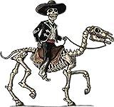 Retro Dia de Los Muertos Sugar Skull Cowboy Cartoon Vinyl Decal Sticker (4' Wide)