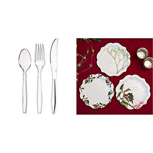 AmazonBasics - Set di 150 Posate in plastica, 50 forchette, 50 cucchiai, 50 coltelli & Talking Tables Natalizi Vischio, Pacco da 12 Piatti con 3 Decori