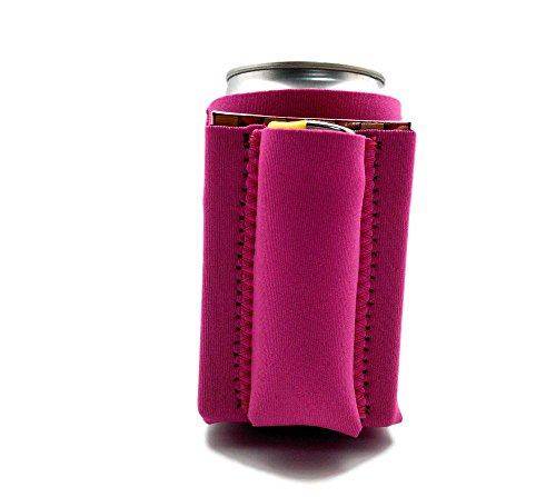 Beer Can Chuggie With Two Pockets - Holds Cigarette And Lighter, Phone, Keys, 3mm Neoprene (Pink, 1 Pack)