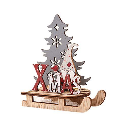 VVXXMO Adornos de trineo de Navidad Senta,Decoraciones de trineo pintadas,Artesanía de rompecabezas de madera