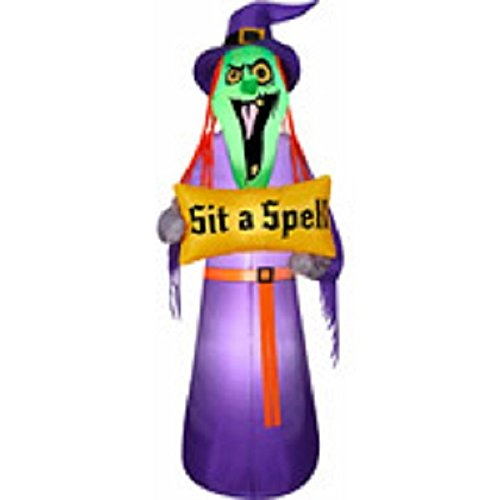 Blow Up Halloween Witch with Sign