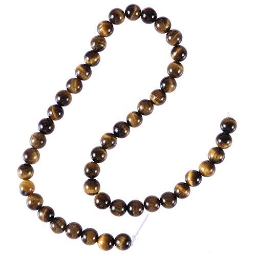 Healifty - 46 perle occhio di tigre naturale, pietra rotonda, pietra rotonda, pietre preziose per fai da te, gioielli, 8 mm