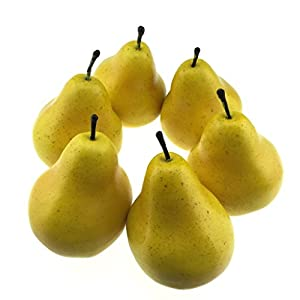 Gresorth 6pcs Artificial Pear Decoration Fake Fruit Lifelike Simulation Food Home Party Kitchen Photography Props