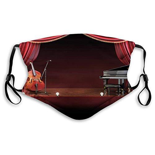 Musiktheater,Orchester Symphonie Thema Bühnenvorhänge Klavier Cello Musik Design,Burgund Brown Black Staubdichter Schal,Mundschal,Mouth Muffle,Nasenschutz