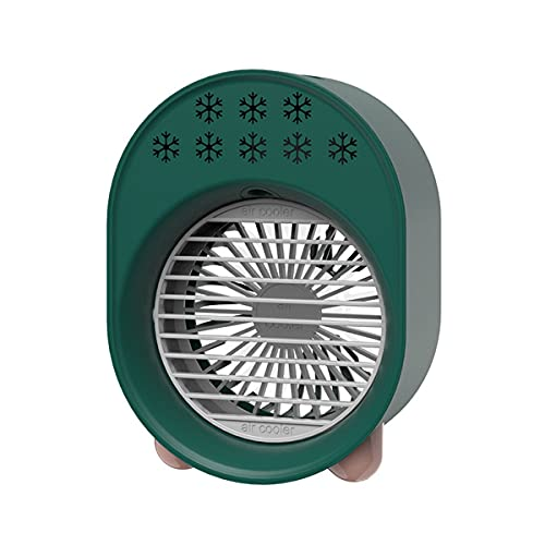 Greatangle-UK Mini Air Cooler Portable Air Conditioner 7 Colors Light Multifunction USB Plug-in Humidifier Office Home Refrigeration Fan green