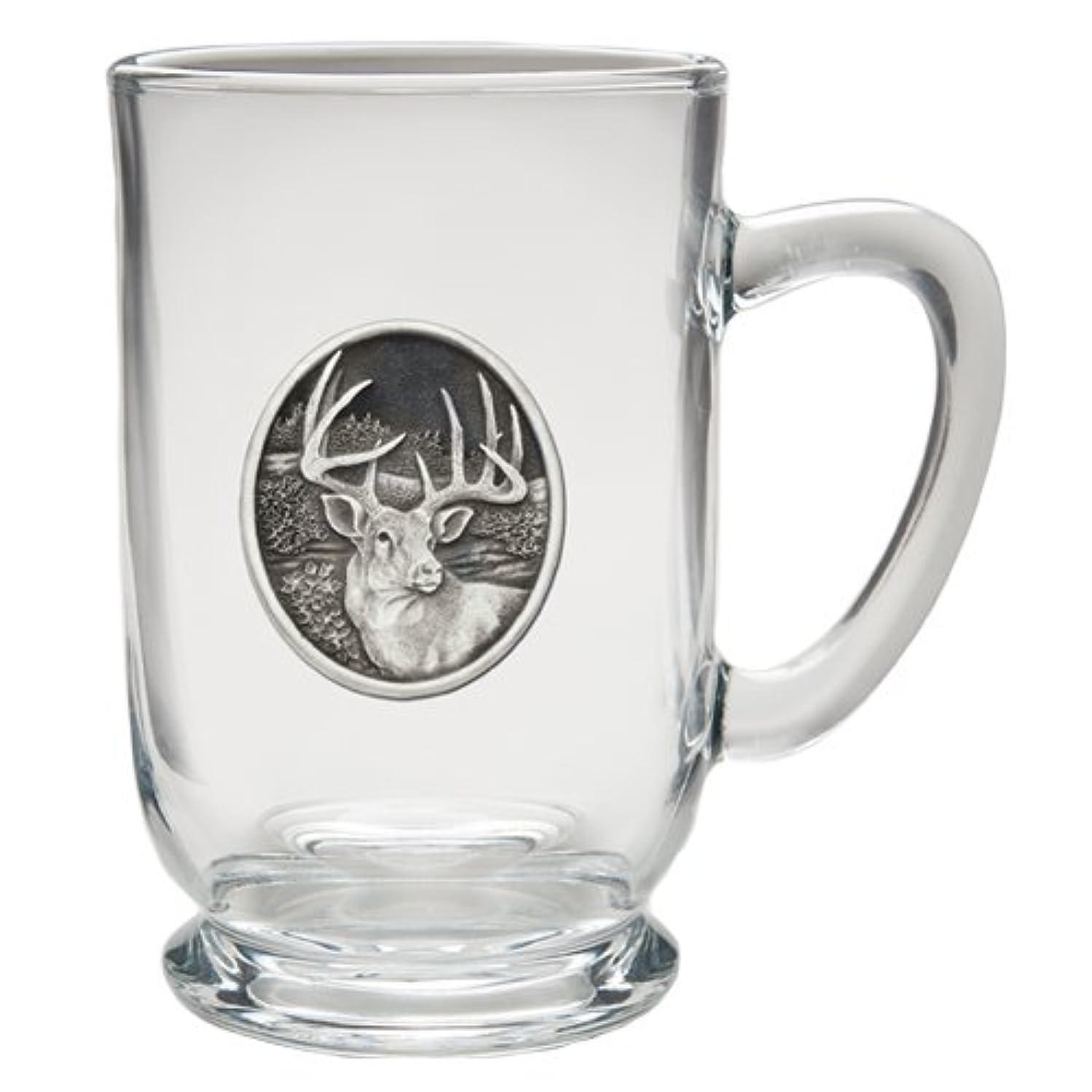1pc, Pewter Whitetail Deer Coffee Mug, Clear