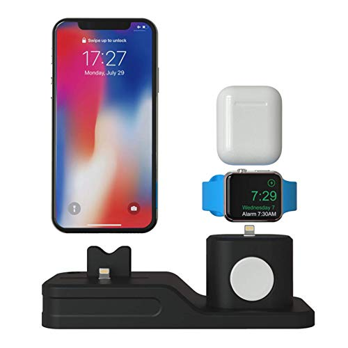 Adecuado para teléfono móvil Apple, reloj, auriculares, soporte de carga de silicona tres en uno, soporte de escritorio para lápiz iwatch