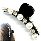Sparkly Pearl Big Rhinestone Big Hair Claw Clip for Thick Hair, Hair Accessories for Women Lady