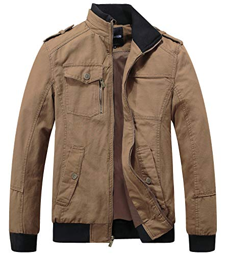 Wantdo Men's Military Cotton Stand Collar Windbreaker Jacket XXX-Large Khaki