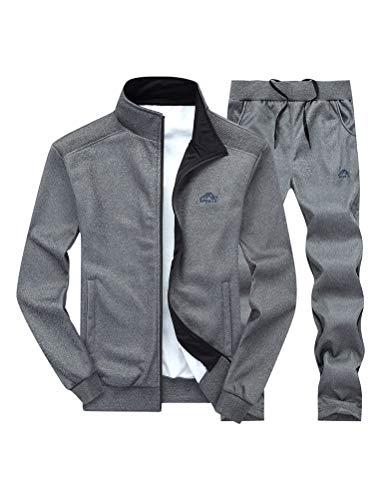FTCayanz Trainingsanzug Herren Jogginganzug Langarm Reißverschluss Jogging Anzug Sweatshirt für Freizeit Sport Dunkelgrau L