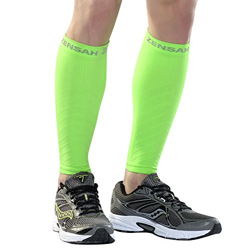 Zensah Compression Leg Sleeves, Neon Green, Small/Medium