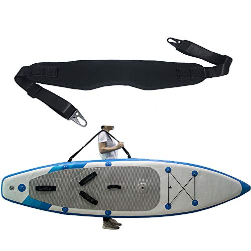 ZipSeven SUP Carrier Shoulder Strap for Kayak Paddle Board Carrying Length Adjustable Quick Attached Metal Hooks Accessories Black