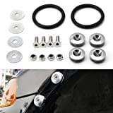 iJDMTOY Universal Fit Silver Finish JDM Quick Release Fastener Kit Compatible With Car Bumper Trunk Fender Hatch Lid