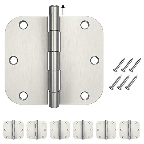HOSOM 6 Packs Door Hinges Brushed Nickel 3.5, Interior Door Hinges with 5/8 Radius Corners