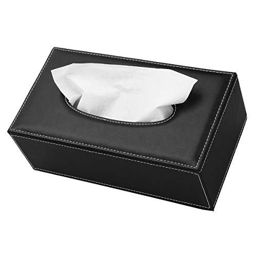 Caja de pañuelos de cuero, rectangular negro, caja de papel de seda, organizador de servilletas, soporte para almacenamiento en el hogar, oficina, coche decoración